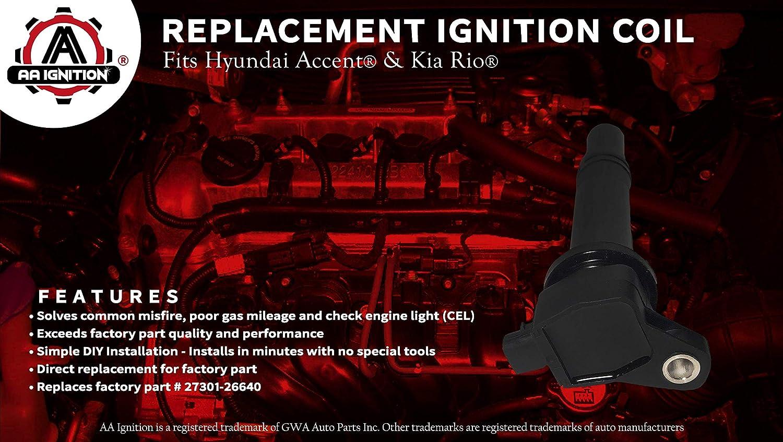 Ignition Coil Pack - Fits Hyundai Accent, Kia Rio - Replaces 27301-26640 -  Ignition Coil Pack Fits 2010 Hyundai Accent, 2009 Hyundai Accent, 2006 Kia