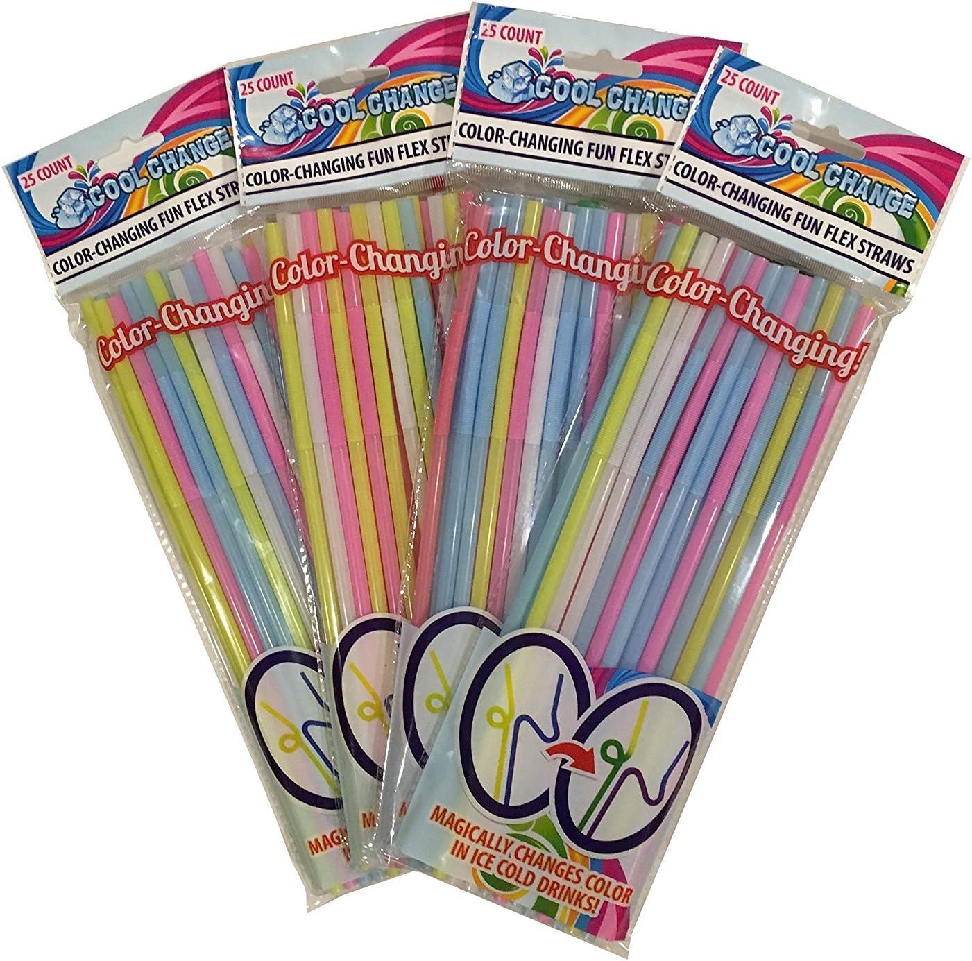 FunFlex (4pk) Color Changing Disposable Straws - Slim