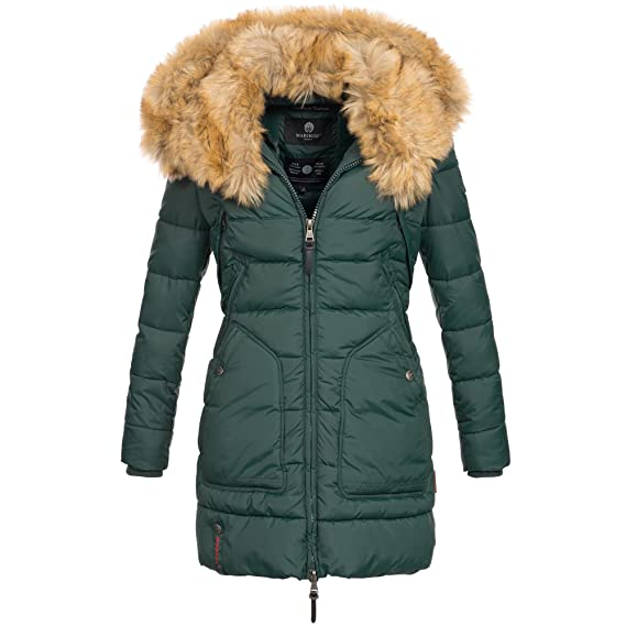 Marikoo Knuddelmaus Damen Winter Mantel Jacke Steppjacke Winterjacke Wintermantel warm gefüttert 2in1 Kunstfell XS XXL