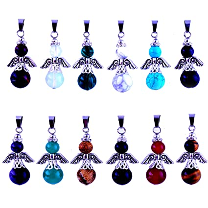 Mutilcolor 14pcs Bullet Shape Healing Pointed Chakra Pendants Quartz Crystal Stone Charm Randow Color for Necklace Making