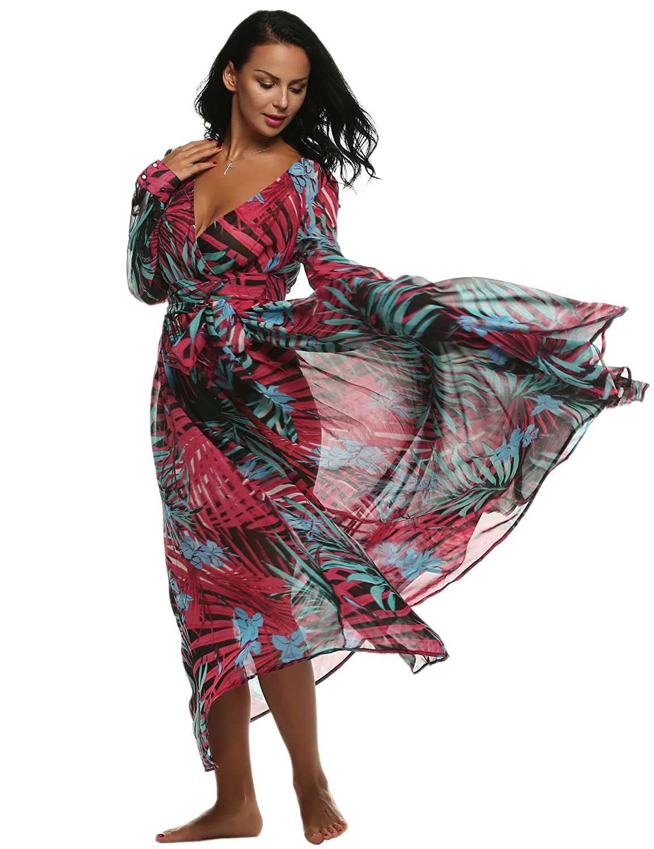 CRAVOG Damen Kleider Boho Print Maxikleid Abendkleid Partykleid