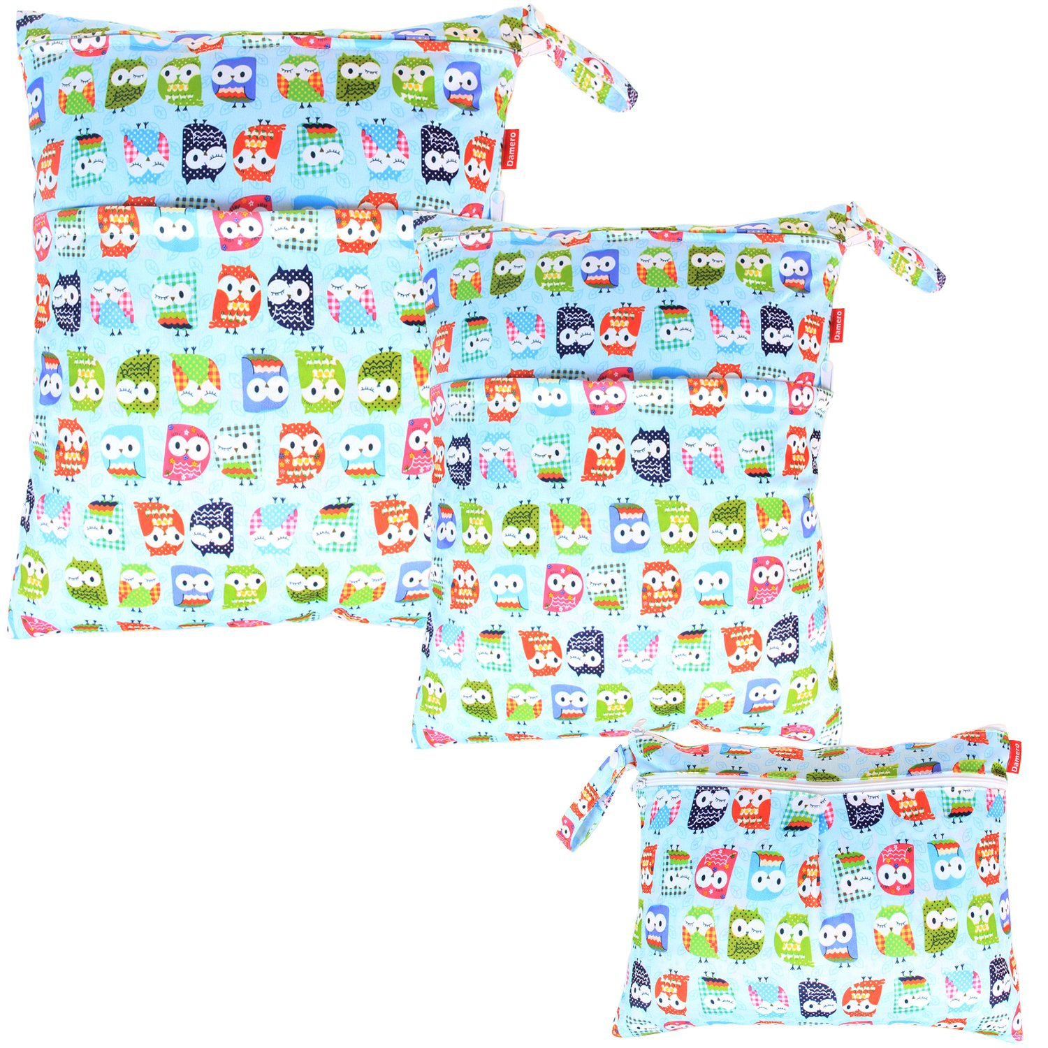 Grey Chevron Damero 3pcs Pack Wet Dry Bag for Cloth Diapers Nappy Bag Daycare Organiser Bag