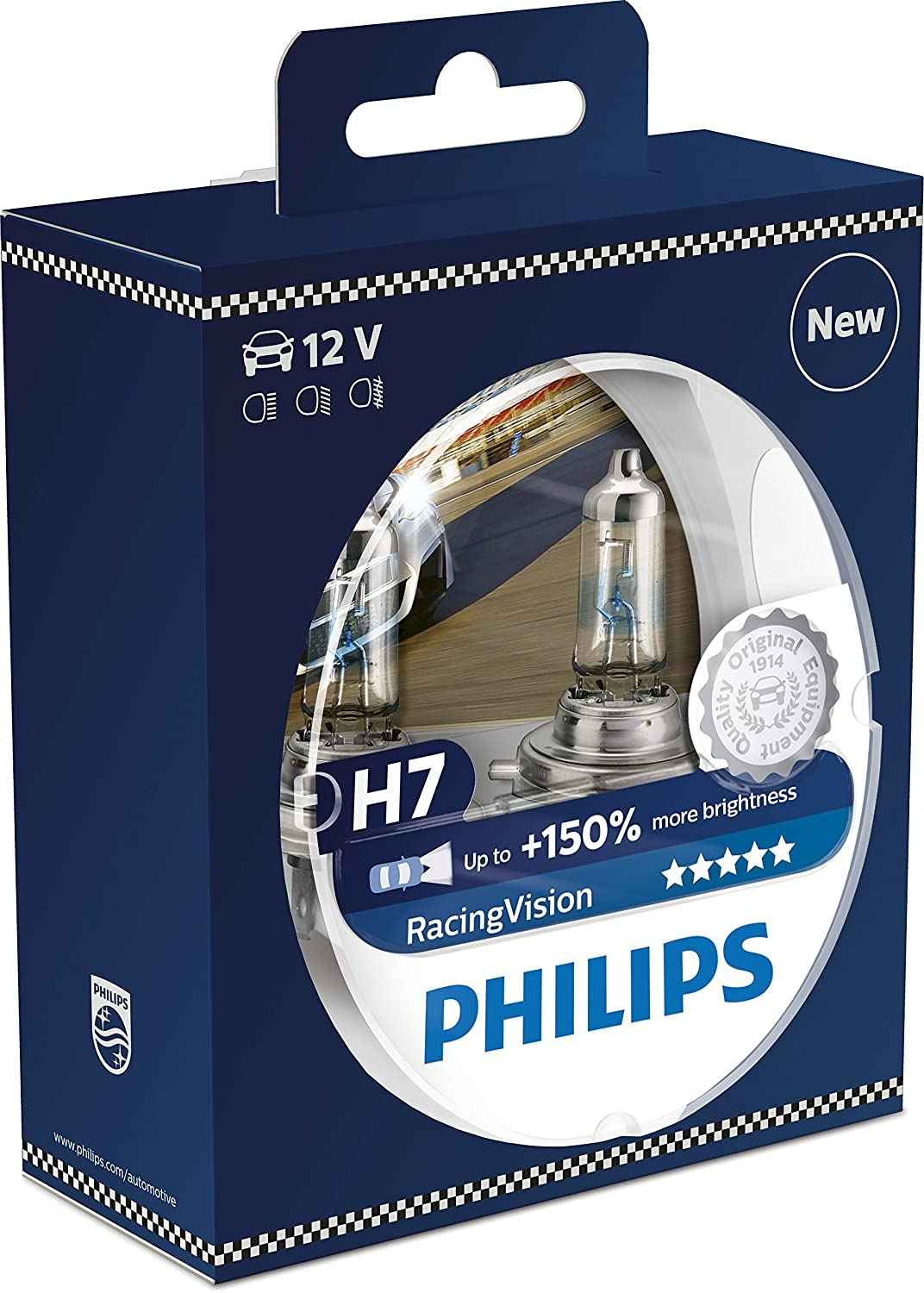 Philips racingvision 150 h7 headlight bulb 12972rvs2 twin pack amazon co uk car motorbike