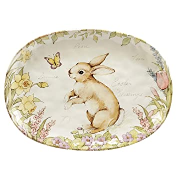 Multicolored Certified International Bunny Patch Oval Platter 17.25 x 12.5,One Size