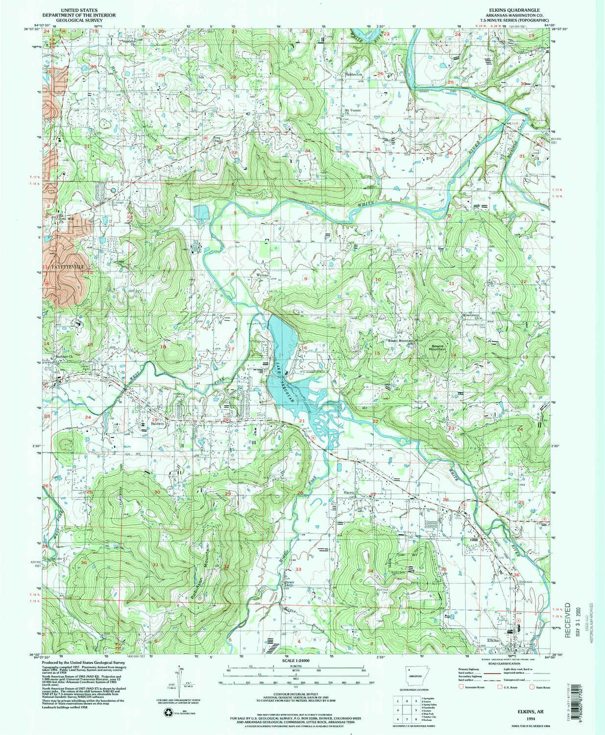 Amazon.com : YellowMaps Elkins AR topo map, 1:24000 Scale, 7.5 X 7.5 ...