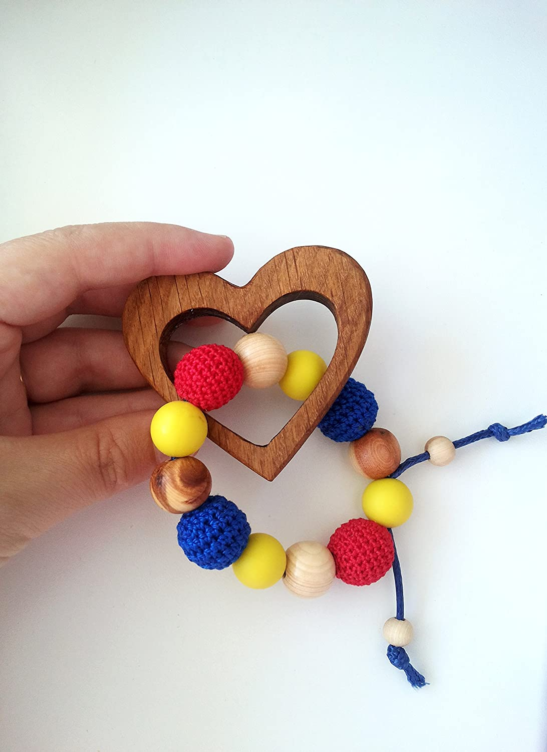 First baby Toy, Organic, Natural Wooden Teether Heart