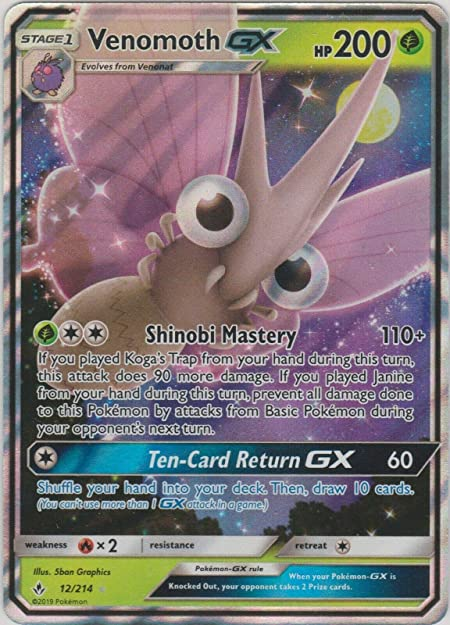 NM Pokemon VENOMOTH GX Card UNBROKEN BONDS Set 12//214 Sun and Moon Ultra Rare
