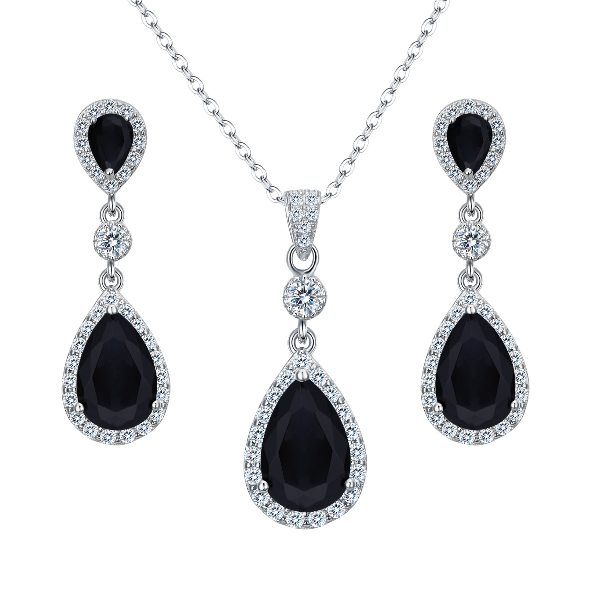 Clearine Womens 925 Sterling Silver Wedding Bridal CZ Baroque Inspired Pendant Necklace Hook Dangle Earrings Set