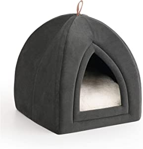 Petsure Pet Tent Cave Bed for Cats/Small Dogs - 15x15x15 inches 2-in-1 Cat Tent/Kitten Bed/Cat Hut with Removable Washable Cushioned Pillow - Microfiber Indoor Outdoor Pet Beds, Dark Grey