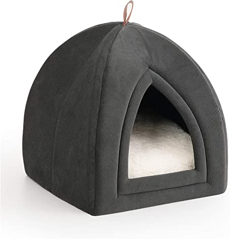 Petsure Pet Tent Cave Bed for Cats/Small Dogs - 15x15x15 inches 2-in-1 Winter Cat Tent/Kitten Bed/Cat Hut with Removable Washable Cushioned Pillow - ...