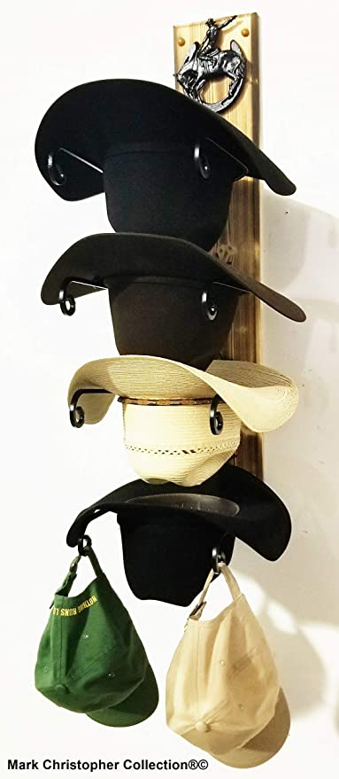 American Made Cowboy Hat Holder with Stars Powder Coated Genuine Horseshoe