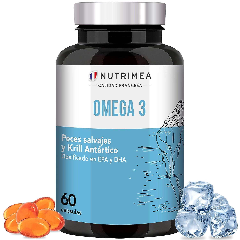 Omega 3 Aceite de Pescado Krill 1000 mg 4 Veces Potente DHA EPA Acidos Grasos Omega3 Capsulas Antioxidante Corazón Reduce Colesterol Azucar en Sangre ...