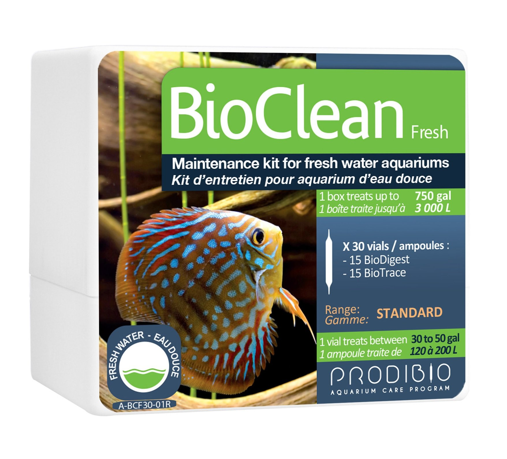 Prodibio Bio Clean, Nitrifying Bateria and Nutrients, Fresh Water, 30/1 mL vials, 30 gal and up by Prodibio