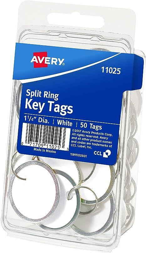 Metal Split Ring 1.25 Diameter Tag White 11025 Avery Metal Rim Key Tags 50 Tags