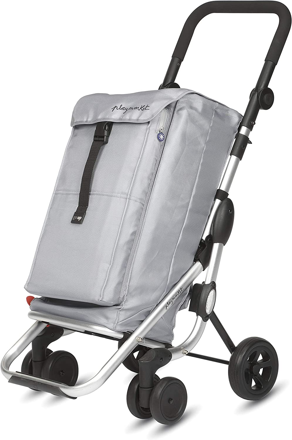 PlayMarket GO UP Folding Shopping Cart with Swivel Wheels, Silver