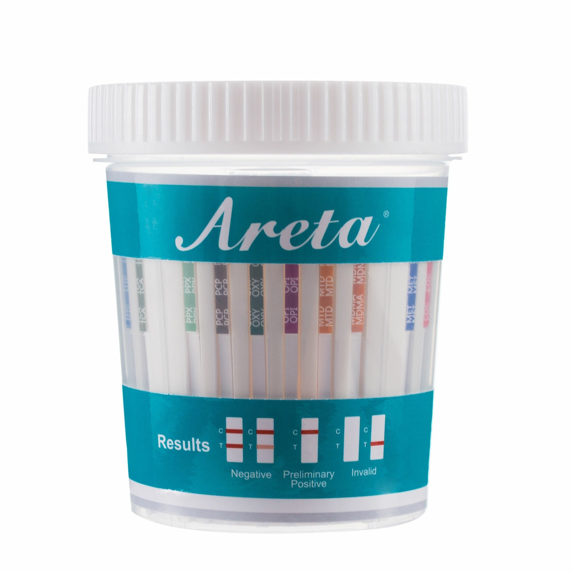 5 Pack Areta 14 Panel Drug Test Cup Kit With Temperature Strip, Instant Testing 14 Drugs Buprenorphine (BUP),THC,OPI 2000, AMP,BAR,BZO,COC,MET,MDMA,MTD,OXY,PCP,PPX,TCA-#ACDOA-1144 (5 Tests)