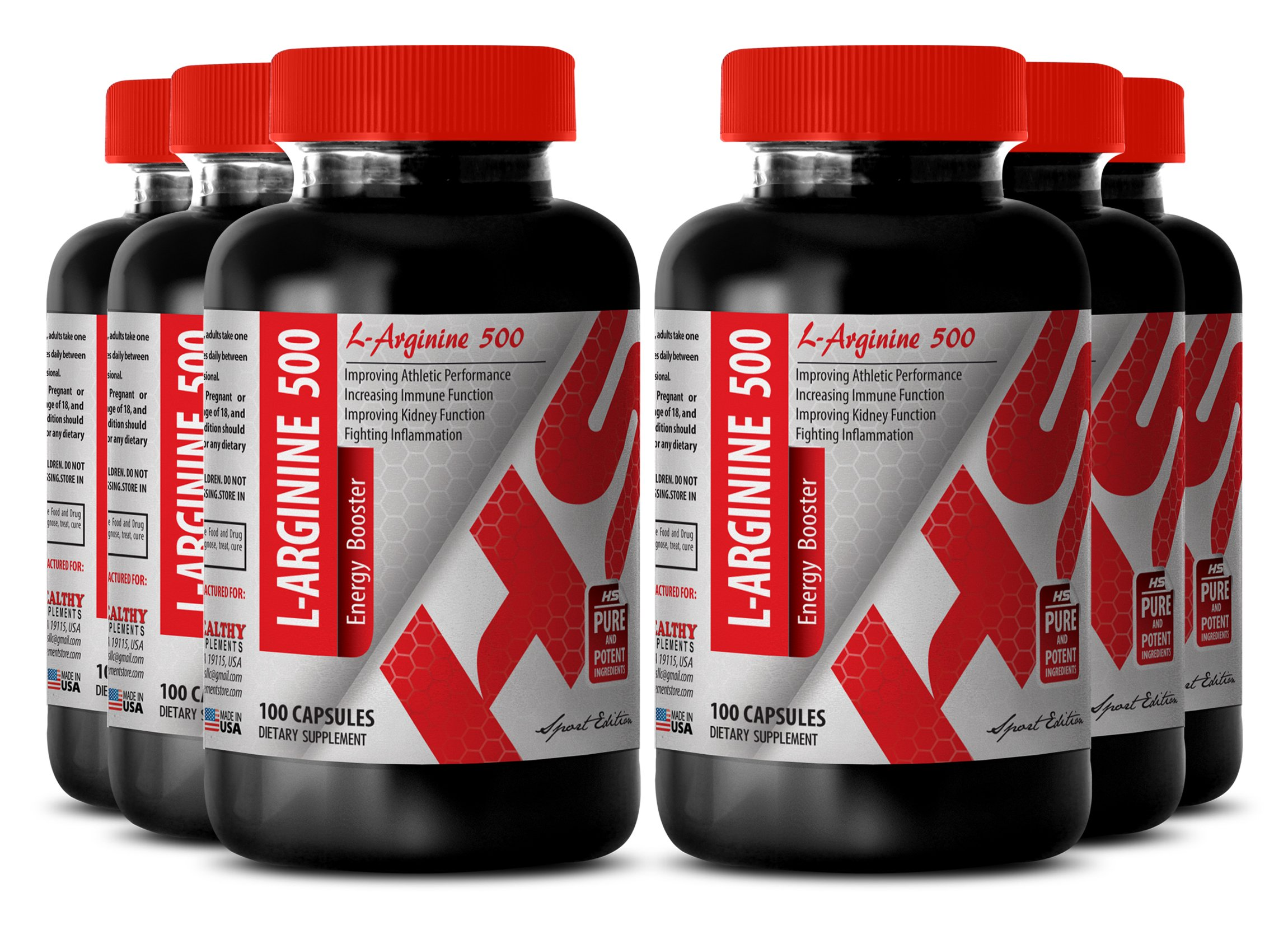 Arginine powder 500mg - L - ARGININE ENERGY BOOSTER 500 MG - improve sexual performance (6 Bottles)