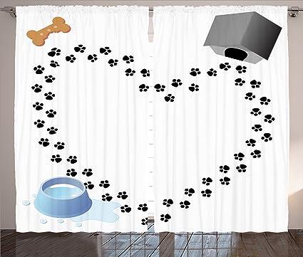 Ambesonne Decor Collection perro, hueso – Caseta de perro de la perrera, de gotas