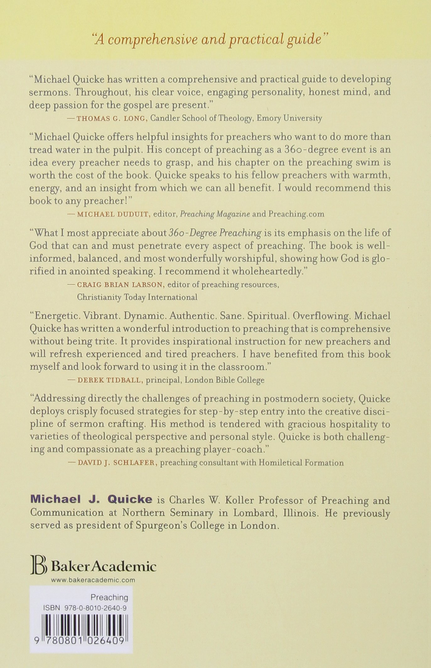 360 Degree Preaching: Hearing, Speaking, And Living The Word: Amazon:  Michael Quicke: 9780801026409: Books