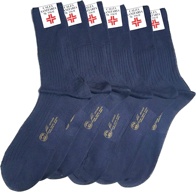 Lucchetti Socks Milano 6 PAIA calze da uomo SANITARIE filo di scozia 100/% cotone rimagliate Made in Italy