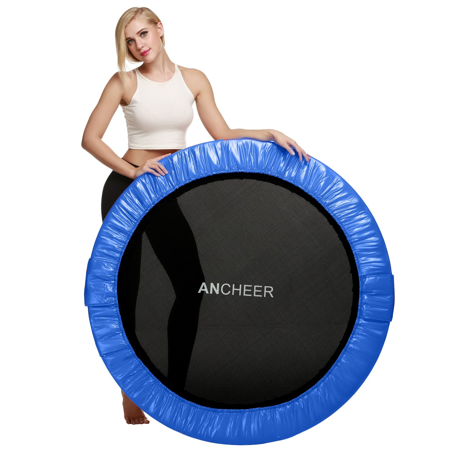 ANCHEER Max Load 220lbs Rebounder Trampoline with Safety Pad for Indoor Garden Workout Cardio Training (2 Sizes: 38 inch/40 inch, Two Modes: Folding/Not Folding) by ANCHEER (Image #8)