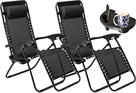 SUNMER Set of 2 Sun Lounger Garden Chairs With Cup And Phone Holder | Deck Folding Recliner Zero Gravity Outdoor Chair Black…
