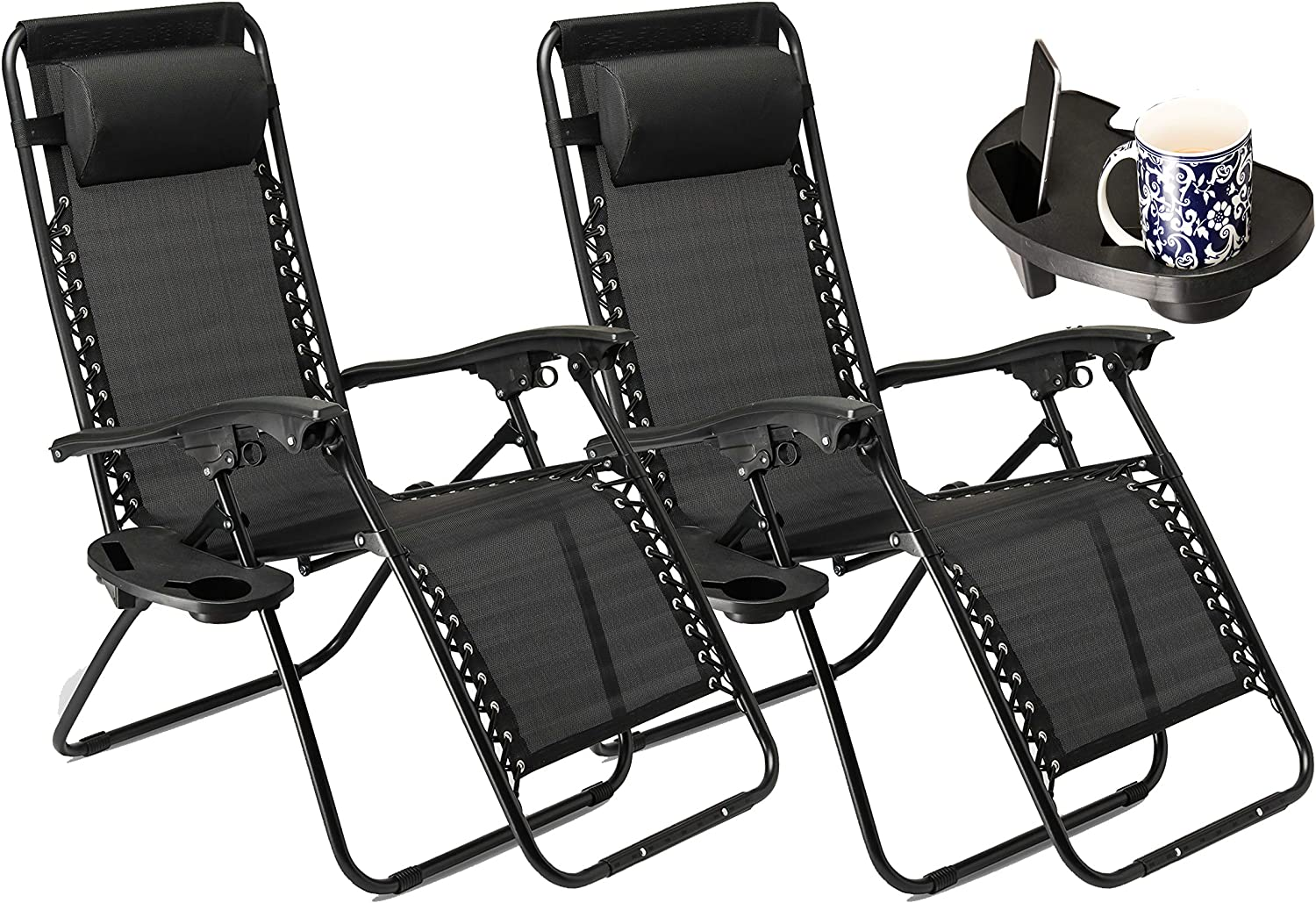 SUNMER Set of 7 Sun Lounger Garden Chairs With Cup And Phone Holder  Deck  Folding Recliner Zero Gravity Outdoor Chair - Black