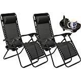 SUNMER Set of 2 Black Heavy Duty Textoline Zero Gravity Chairs With Cup And Phone Holder | Garden Outdoor Patio Sun Loungers | Folding Reclining Chairs | Lounger Deck Chairs