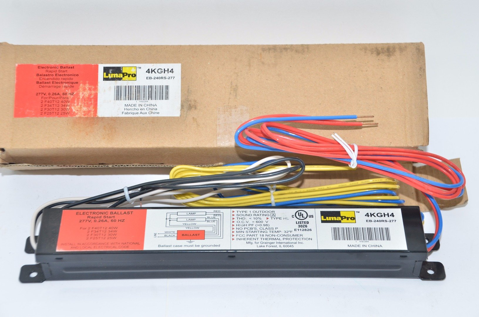 LumaPro 4KGH4 Ballast, Electronic, T12, 0.26 to 0.62 Amps