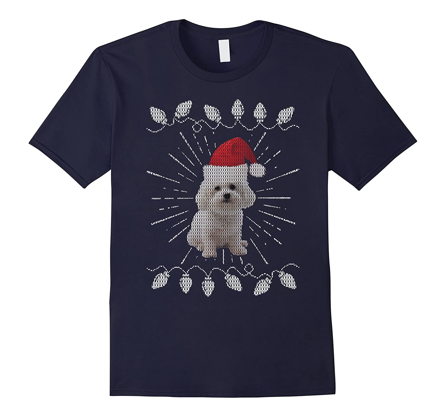 Bichon Frise Tshirt Ugly Christmas Sweater Gift Dogs Lovers-T-Shirt