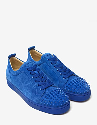 Christian Louboutin Louis Junior Spikes Electric Blue Suede Trainers (9 UK    43 EU) 5750fdc42689