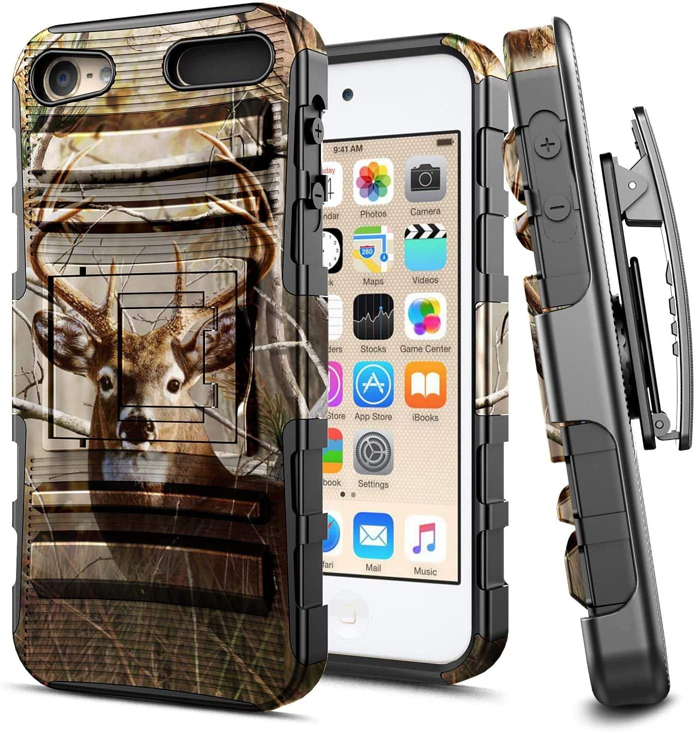 E-Began iPod Touch 7 Case, iPod Touch 5/6, Belt Clip Holster with Kickstand Protective Hybrid Cover Heavy Duty Armor Defender Shockproof Rugged Case for iPod Touch 7th/6th/5th Generation -Deer