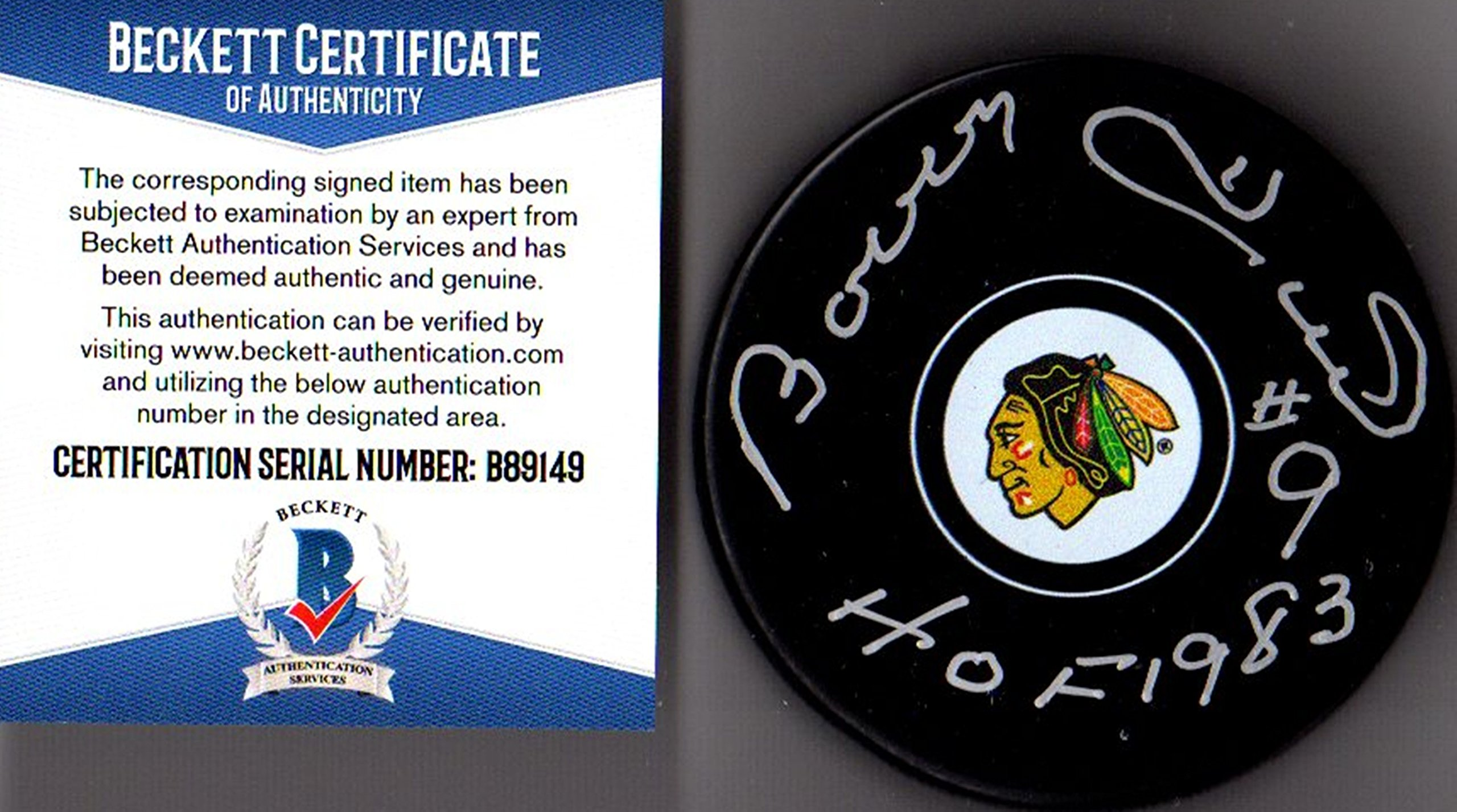 "Beckett BAS Bobby Hull #9 ""HOF 1983"" Autographed Signed Chicago Blackhawks Puck"