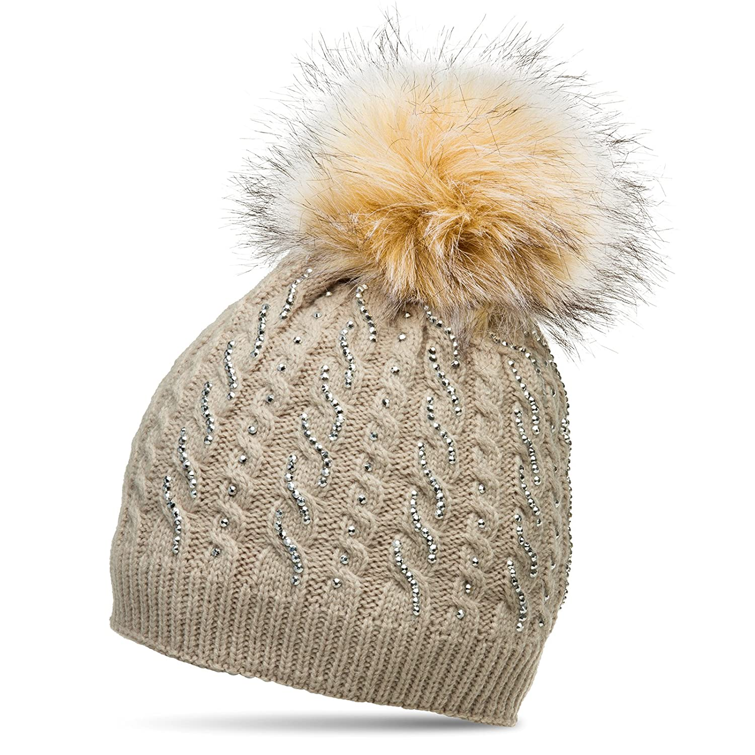 a82fa9aaca8 CASPAR MU166 Glamourous Women Winter Bobble Hat with Faux Fur Pom Pom and  Strass Decor Cable Knit