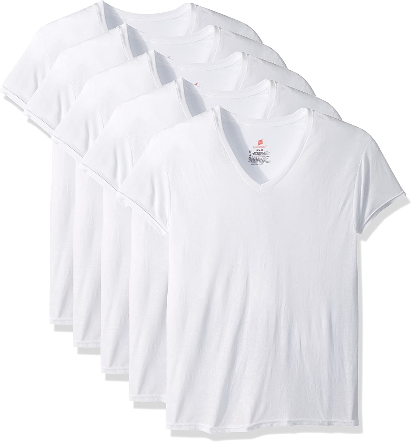 Hanes Men's 5-Pack ComfortBlend V-Neck T-Shirt with FreshIQ