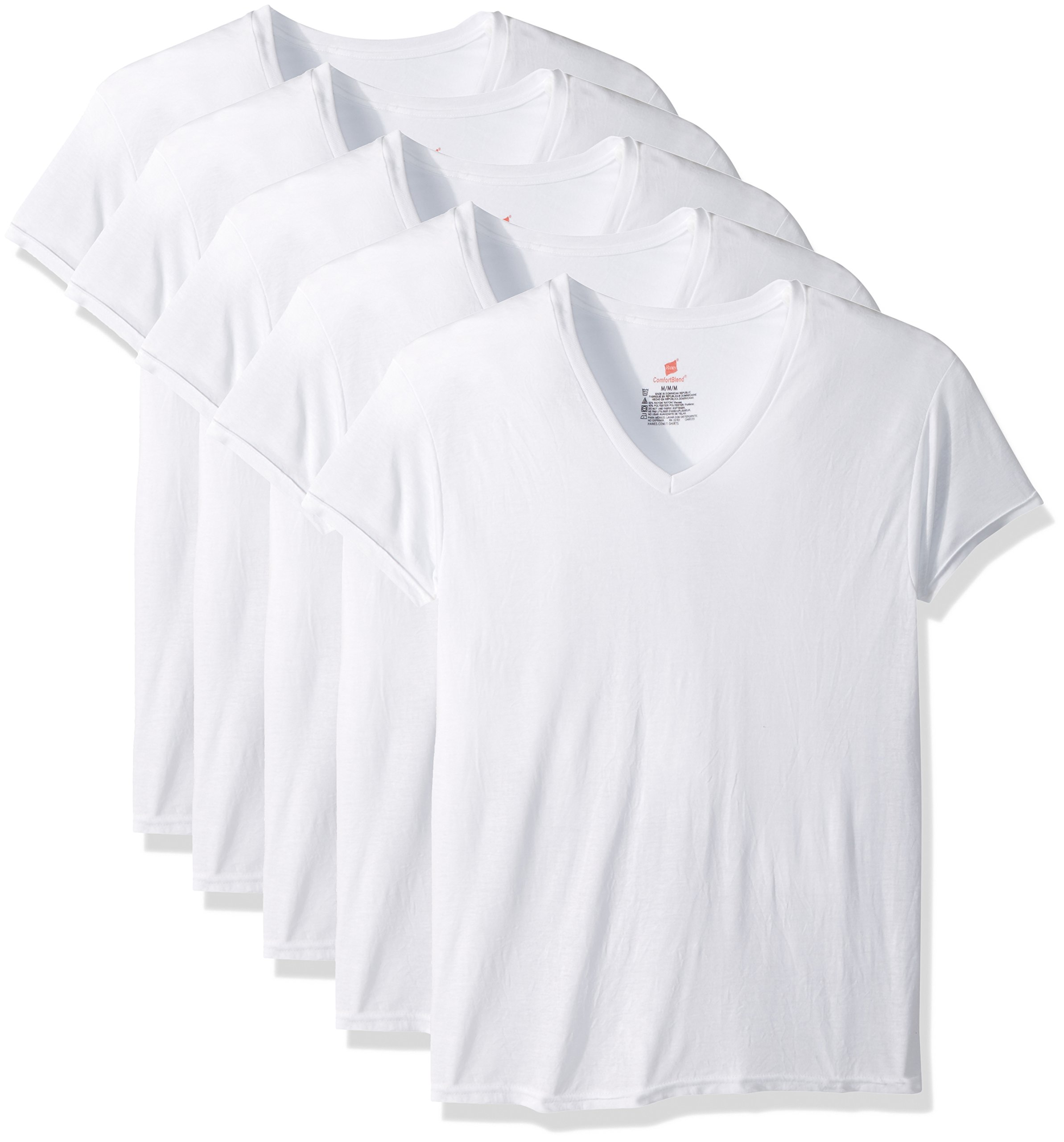 Hanes Men's 5-Pack ComfortBlend V-Neck T-Shirt with FreshIQ, White, Large