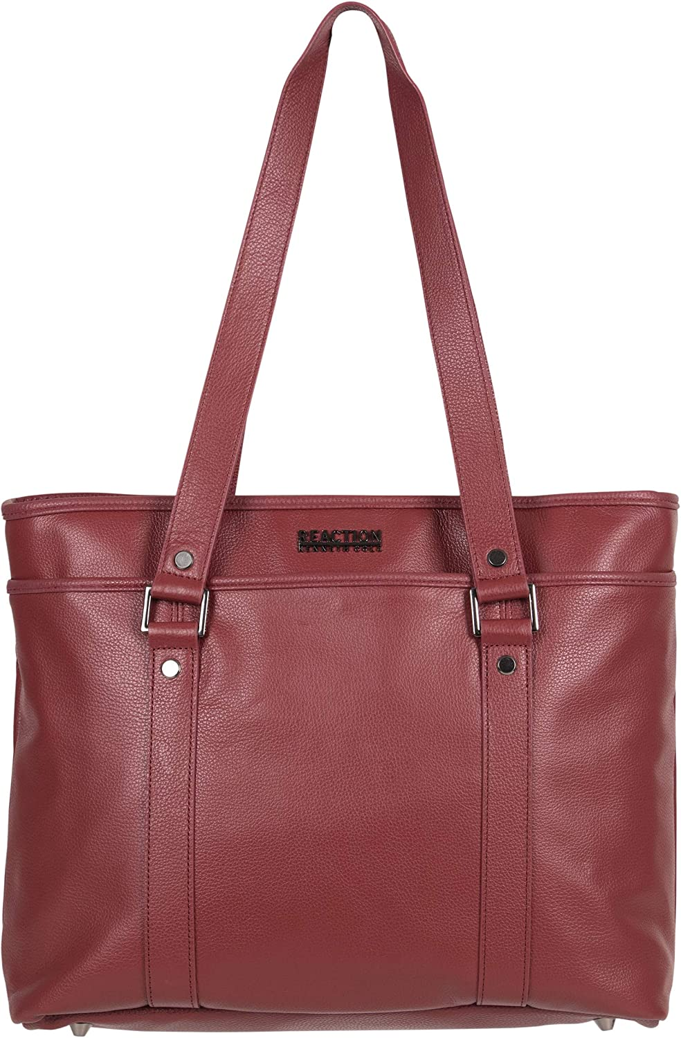 """Kenneth Cole Reaction Women's Downtown Darling Leather Single Compartment 16"""" Laptop Tote, Red"""