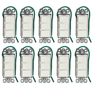 ENERLITES Triple Paddle Rocker Decorator Combination Switch, Single-Pole, Residential Grade, Back Insert #14 Copper Wire Only, 15A 120/277V, UL Listed, 62755-W-10PCS, White (10 Pack)