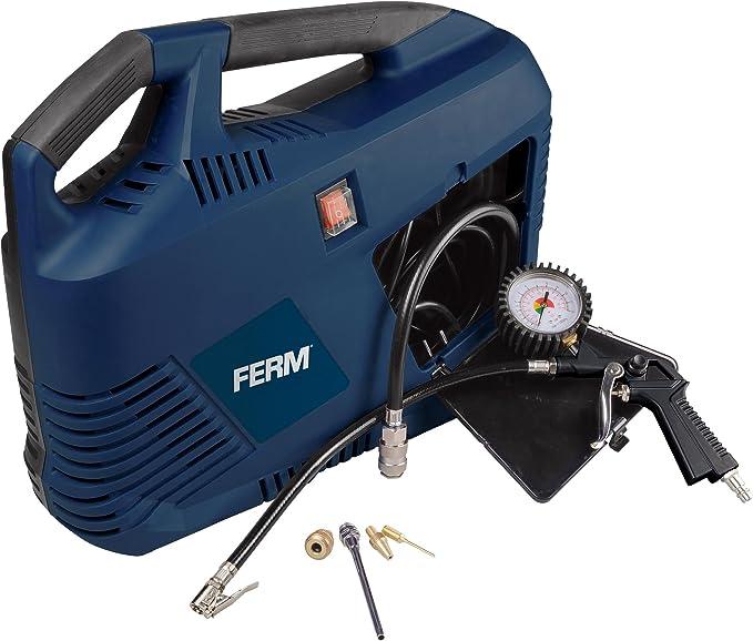 Ferm Tragbarer Elektrische Druckluft Kompressor 1100w Max 8 Bar Öl Frei Mit Viele Zubehören Baumarkt