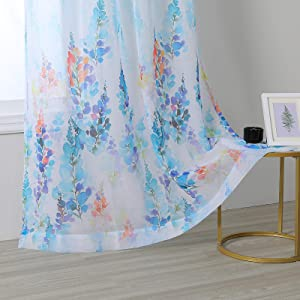 MYSKY HOME Blue Wisteria Flower Pattern Semi Sheer Curtains 84 Inch Length Window Drapes with Grommets Treatment for Living Room Window Curtain 2 Panels