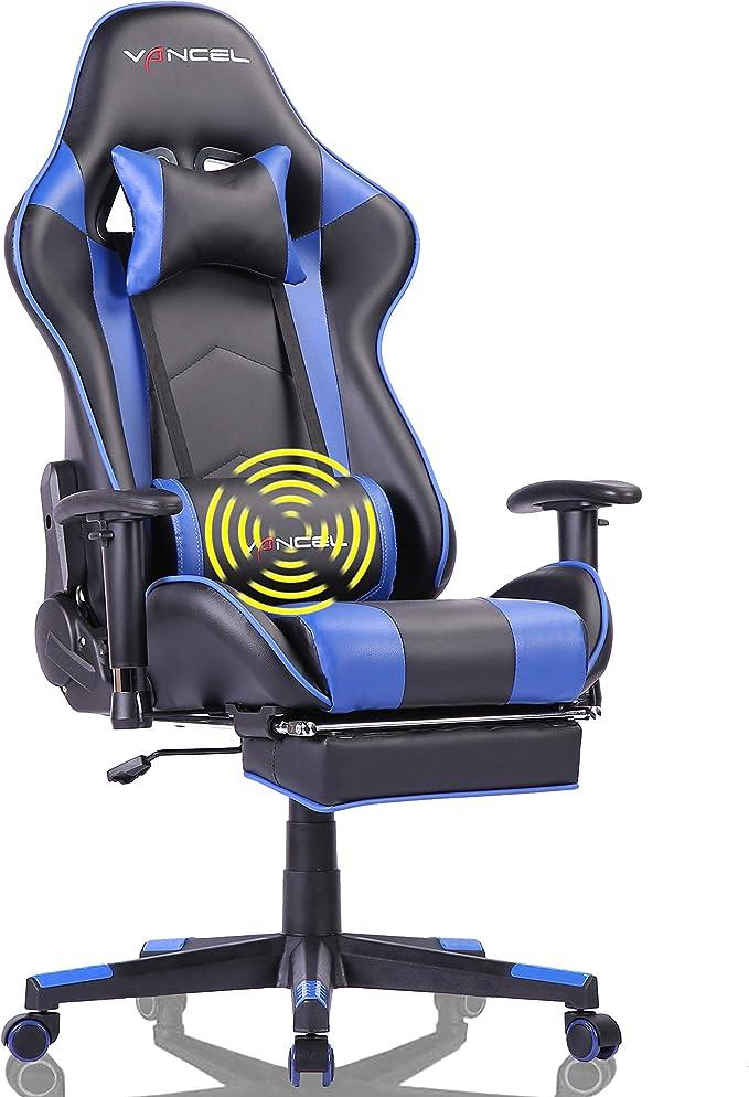 Eavancel Silla Gaming Sillones De Oficina Reclinable Ergonomica Con Reposapiés Retráctil Con Masaje Lumbar Para Gamer Azul Amazon Es Hogar
