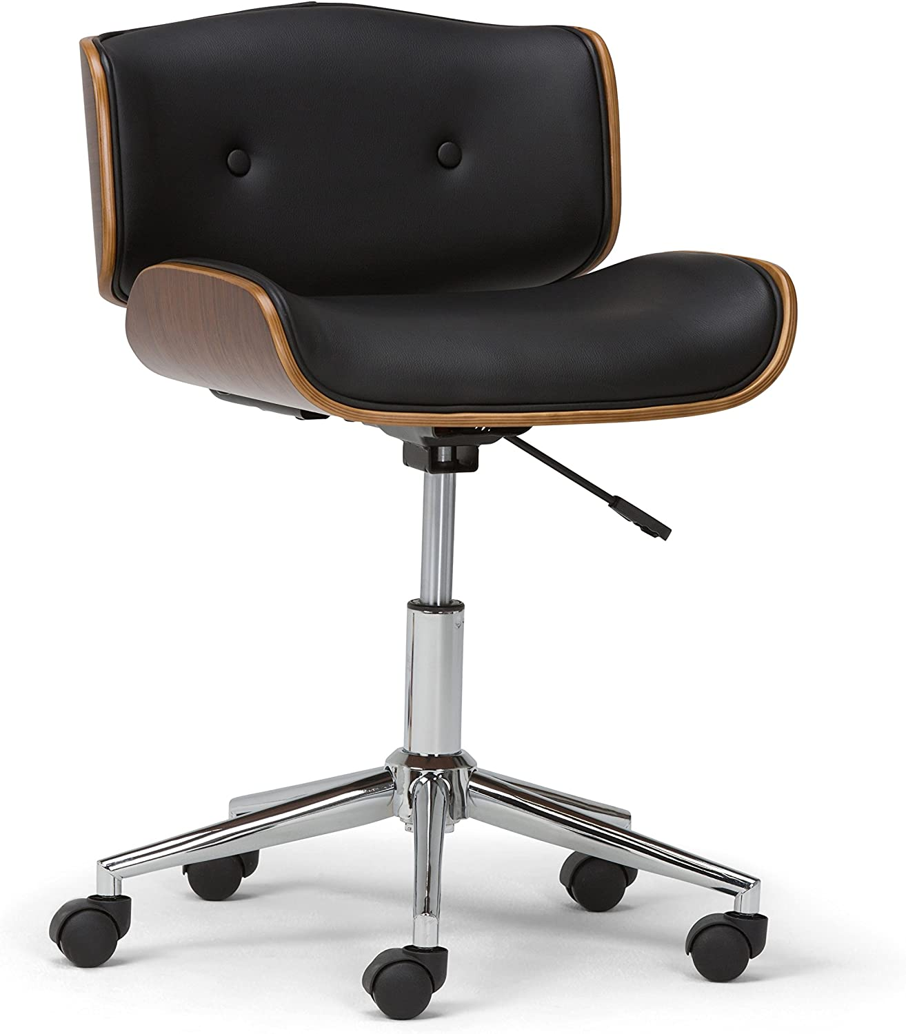 Simpli Home AXCDAXN-BL Dax Swivel Adjustable Executive Computer Bentwood Office Chair in Black, Natural