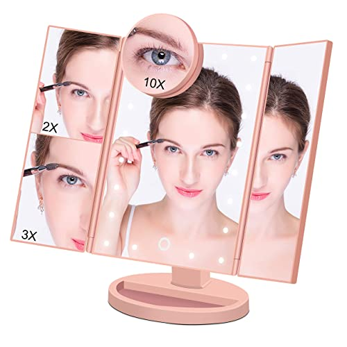 Makeup Mirror Lighted Makeup Vanity Mirror with 21 LED Lights, 3X 2X Magnification and Detachable 10X magnifying mirror,Tri-flod LED Makeup Mirror with touch screen Rose Gold