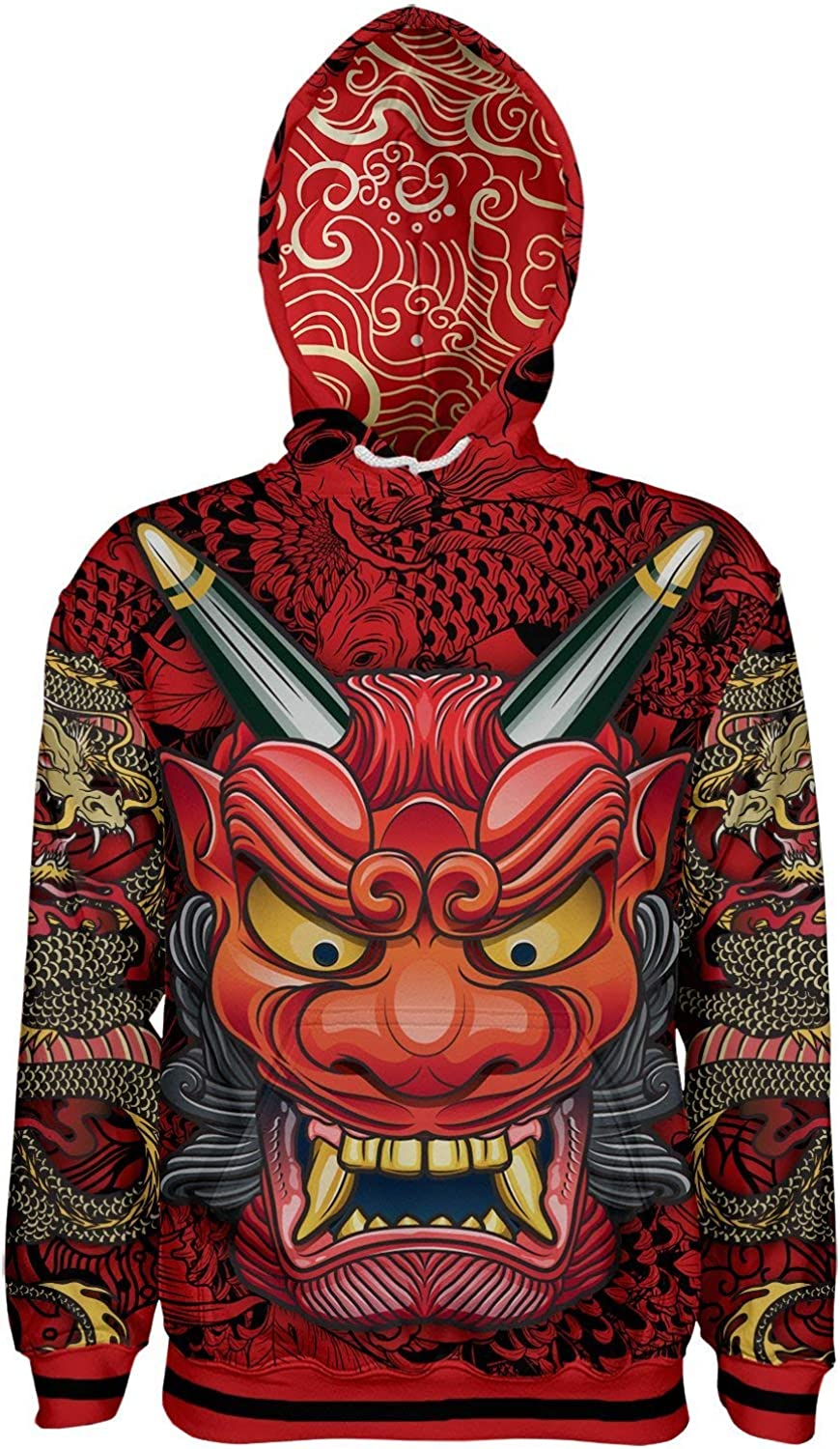 Oni Mask Red Pullover Hoodie at Amazon Men's Clothing store