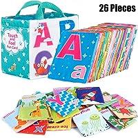 Mini Tudou 26 PCS Baby Soft Alphabet Cards, ABC Learning Flash Cards with Storage...