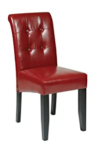 Office Star Bonded Leather Parson's Dining Chair with Espresso Finish Legs and Tufted Back, Crimson Red