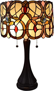 "Amora Lighting Tiffany Style Table Lamp Banker Floral 21"" Tall Stained Glass Tan Brown Red Vintage Antique Light Décor Night Stand Living Room Bedroom Handmade Gift AM335TL10, Multicolor"