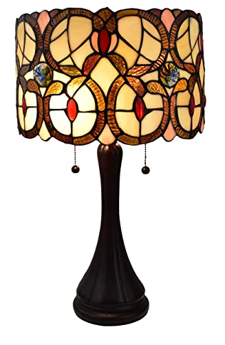 Amora Lighting Tiffany Style Table Lamp Banker Floral 21 Tall Stained Glass Tan Brown Red Vintage Antique Light D cor Night Stand Living Room Bedroom Handmade Gift AM335TL10, Multicolor
