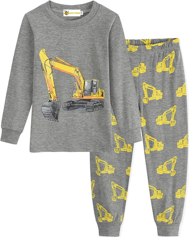 camion dei pompieri Pigiama da ragazzo MOLYHUA escavatore pigiama set Jammies et/à 1-7 anni a maniche lunghe