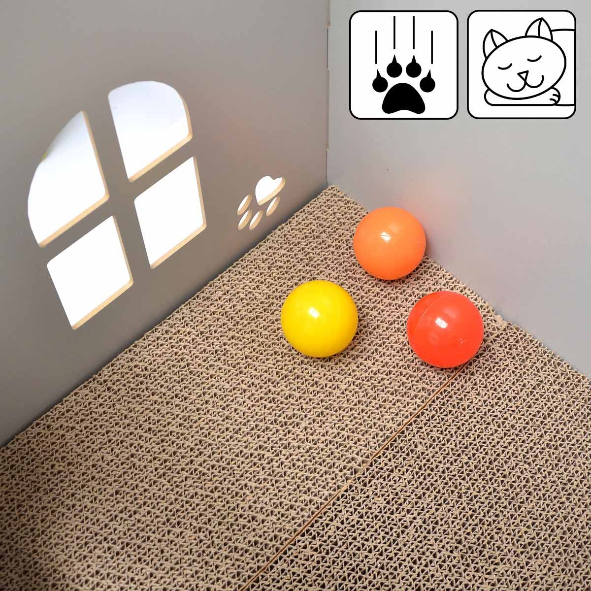 eyepower Cama para Gato 46x46x46cm talla grande L caja cuadrada para mascota con tapa acolchada para sentarse reposapiés incl alfombra rascadora Rojo: ...